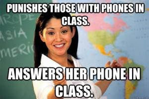 teacher on phone